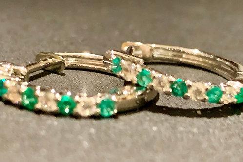 Diamond & Emerald Hoop Earrings