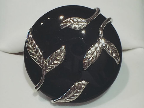 Sterling Silver, Large, Onyx, Ring, Leaf, Abstract, Lowest Price