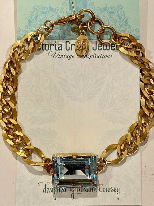 Victoria Cross Antique Gold Aqua Crystal Bracelet