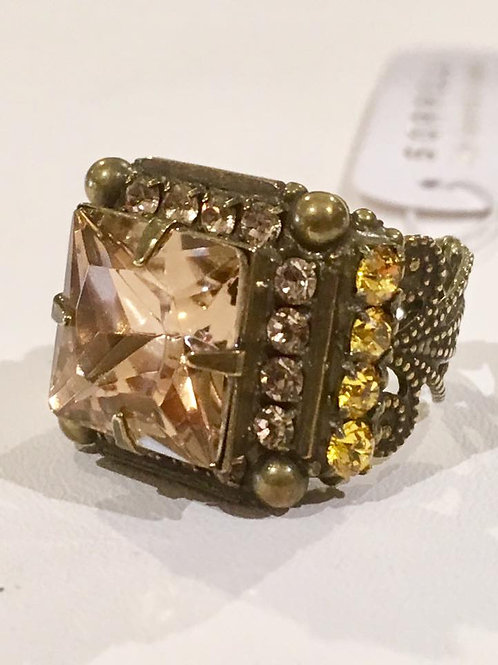 Sorrelli, Adjustable, Champagne, Amber, Pink, Ring, Neutral Territory, Sale, Lowest Price, Antique Gold