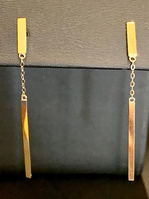 14k Gold Vertical Bar Earrings