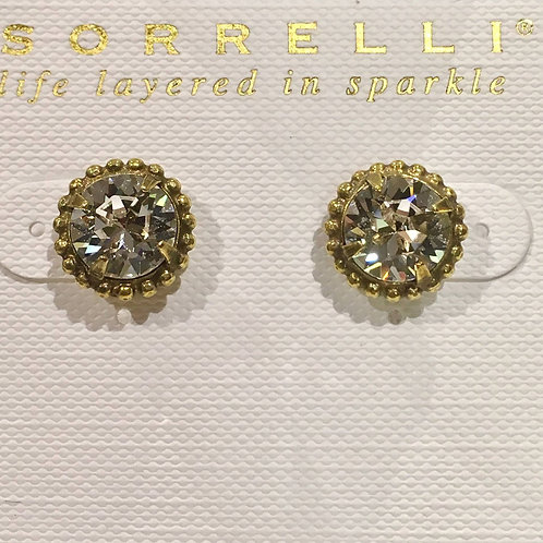 Sorrelli, clear crystal, stud, earrings, post, beading, antique silver, gold, bright gold, neutral, essential
