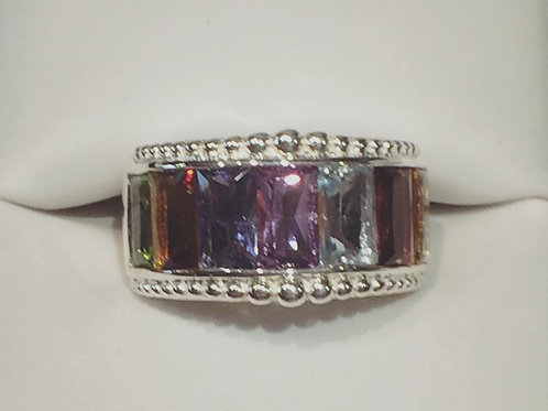Sterling Silver, Rainbow, Ring, Peridot, Citrine, Amethyst, Blue Topaz, Garnet, Genuine Gemstone, Lowest Price