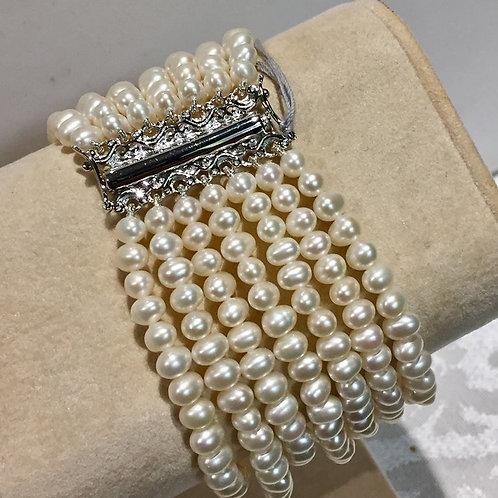 freshwater, pearl, bracelet, sterling silver, multi strand