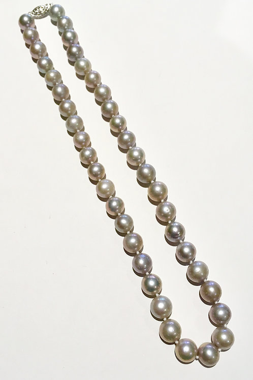 Freshwater pearl, necklace, 18 inch, 10 mm, silver, gray, grey