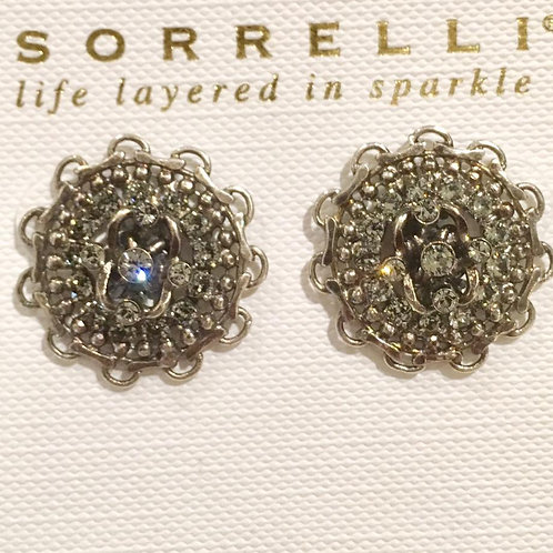 Sorrelli, post, earrings, antique silver, crystal
