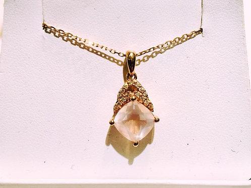 Rose Gold, pendant, morganite, diamond