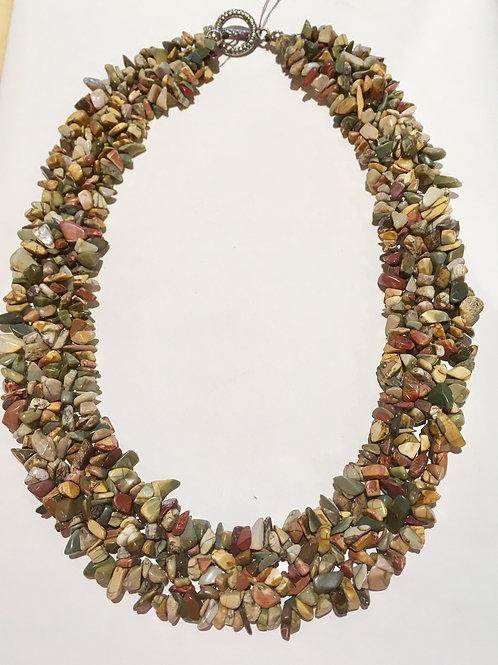 Fashion jewelry, necklace, genuine stones, earth tone, neutrals