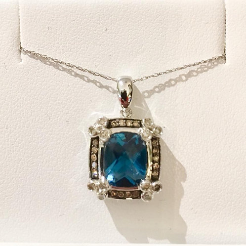 pendant, diamond, london blue, topaz, white gold