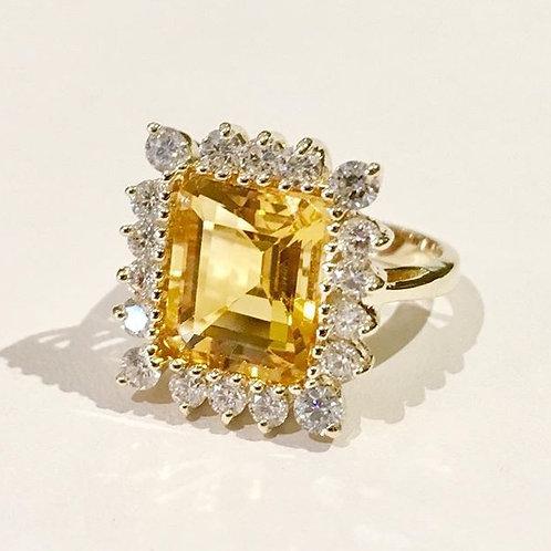 ring, diamond, citrine, 14K