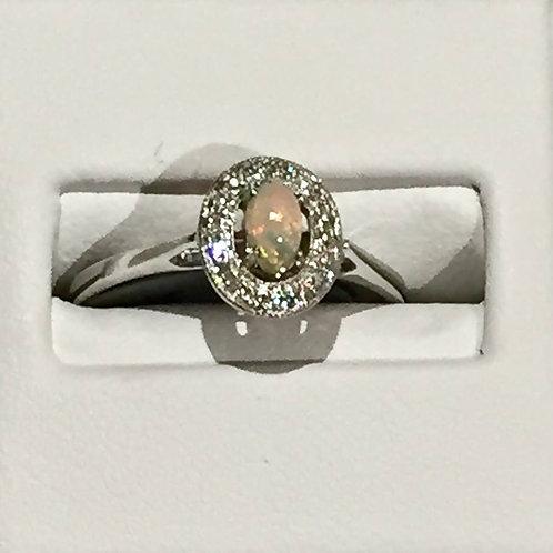 ring, opal, diamond white gold