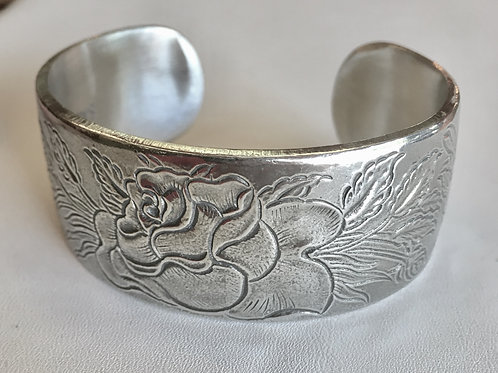 "cuff bracelet, pewter, birth flower, birthstone, adjustable, 1"" wide"