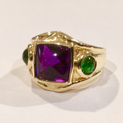 14k, yellow gold, ring, estate, amethyst, emerald