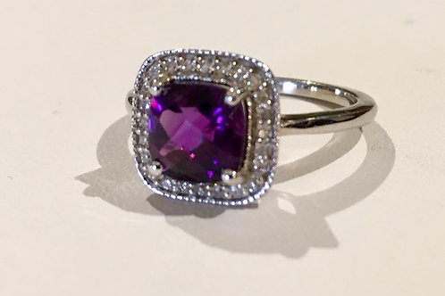 ring, white gold, diamond, amethyst