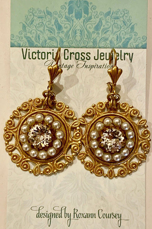 Victoria Cross Antique Gold Filigree Earrings
