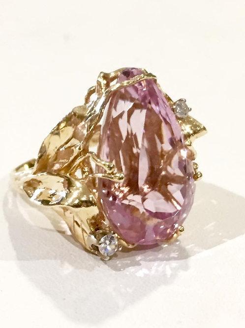 14K, ring, custom, gold, kunzite, diamond, estate