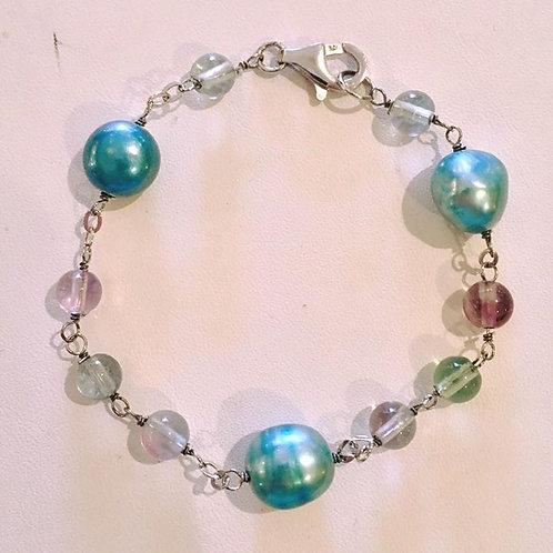 Bracelet, Sterling Silver, Freshwater Pearl, Iolite Beads, Blue