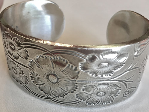 """cuff bracelet, pewter, birth flower, birthstone, adjustable, 1"""" wide"""