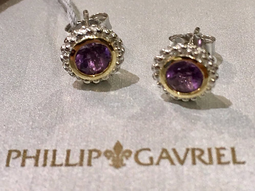 Phillip Gavriel Sterling Silver and 18K Gold Amethysts Earrings
