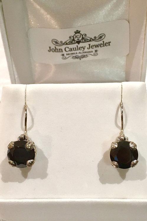 Sterling silver, earrings, black onyx, french wire, lever back, drop earring, black