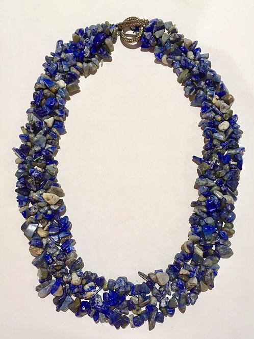 Fashion jewelry, necklace, genuine stones, blue, gray, grey