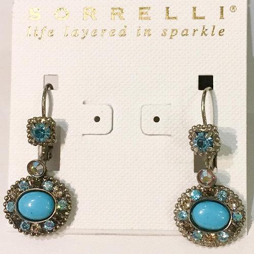 Sorrelli, earrings, antique silver, desert blue, aqua