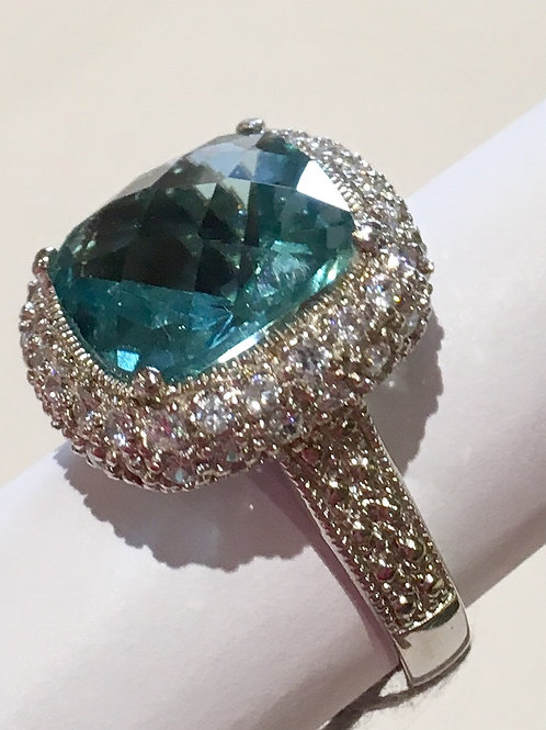 Sterling Silver, Blue CZ, Cubic Zirconia, Ring, Dinner Ring, Sale, Lowest Price