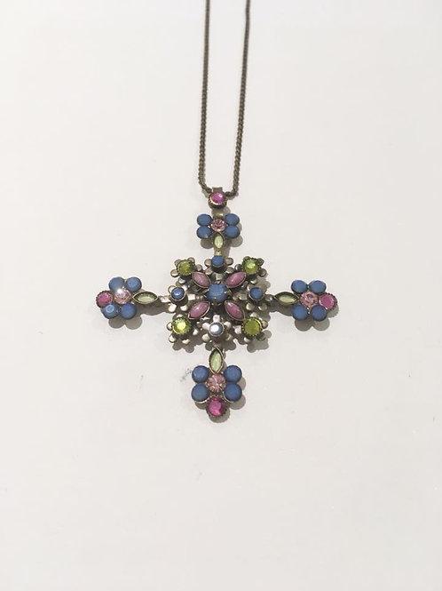 Sorrelli, cross, floral, necklace
