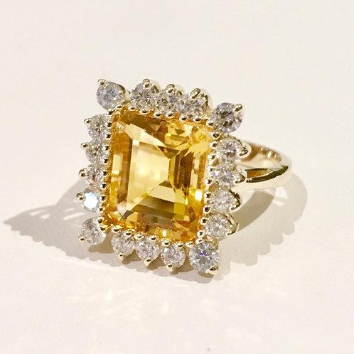 Citrine, diamond, 14 karat gold, ring