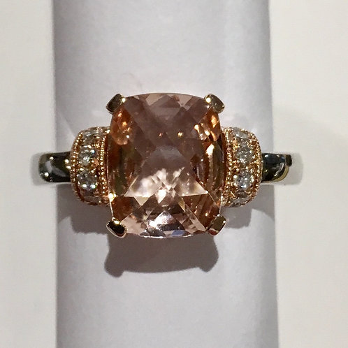 Fine Jewelry, 14k, 14 karat, white gold, rose gold, morganite, diamond, ring, 2 ct., 3 ct.