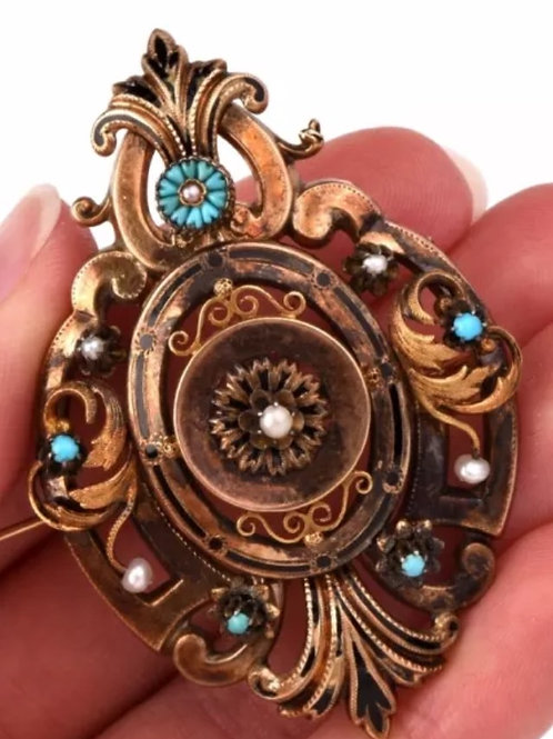 Estate Jewelry, Pendant, Pin, Filigree, Genuine, Seed Pearls, Cabochon, Turquoise, 14K gold, heart-shaped