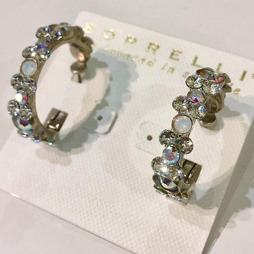 Sorrelli, earrings, hoops, clear crystal, Aurora Borealis