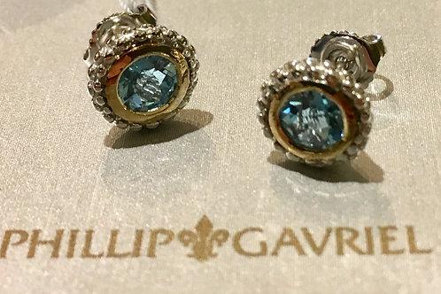 Blue Topaz, Phillip Gavriel, sterling silver, 18K, gold, earrings