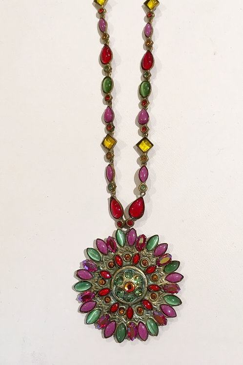 Sorrelli, necklace, sunburst, pendant, retired, hard to find, red, green cat's eye, lavender, yellow