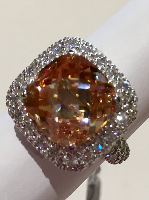 Sterling Silver, Champagne CZ, Cubic Zirconia, Ring, Dinner Ring, Sale, Lowest Price