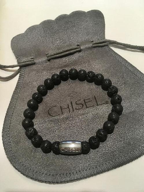 Lava rock, bracelet, stretch, stainless