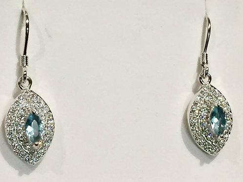 earrings, sterling silver, CZ, Aquamarine
