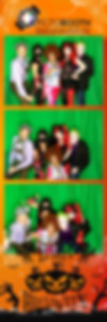 Yellow and green Halloween themed photo strip with people dressed in scary costume posing in front of the camera.