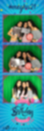 Three girls posing in a blue birthday photo strip.