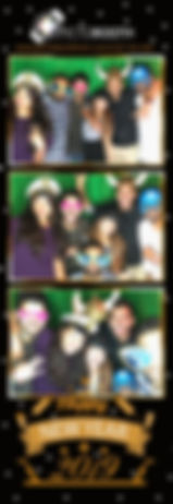 Five friends posing happily in a black New Year themed photo strip.