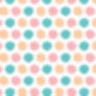 Colorful polka dots set on a richwhite background.