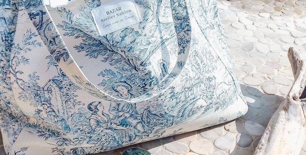 Cabas Toile de Jouy - Bleu
