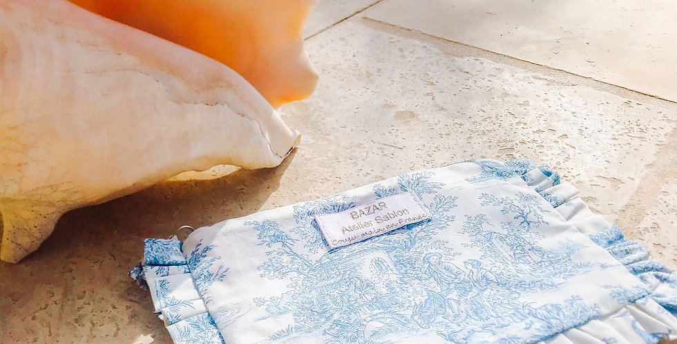 Pochette Toile de Jouy - Bleu