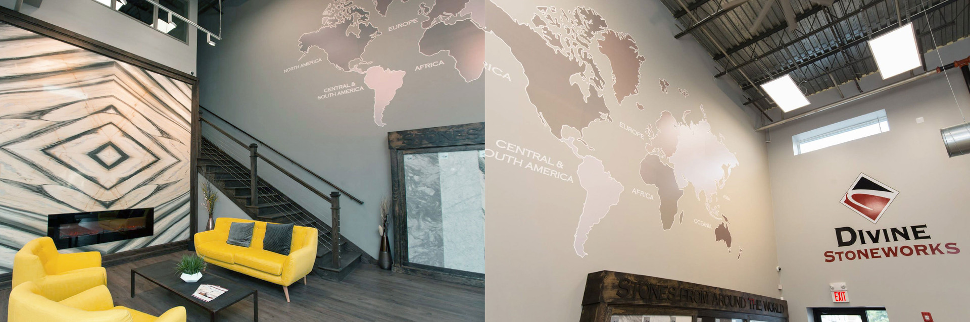 map wall cling and logo wall cling