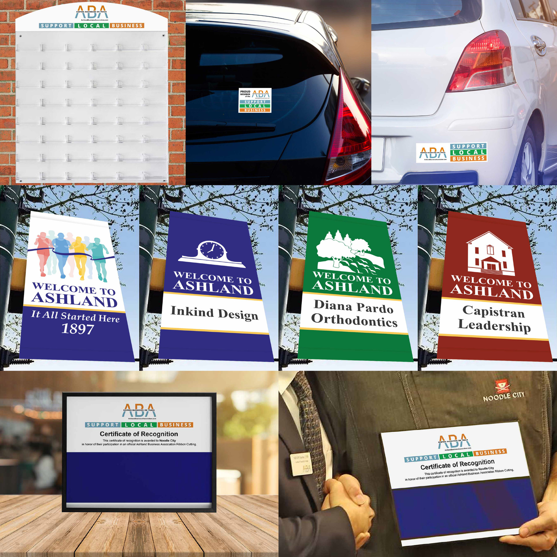 TOWN MARKETING COLLATERAL, MAIN STREET BANNERS, BUSINESS ASSOCIATION BRAND COLLATERAL