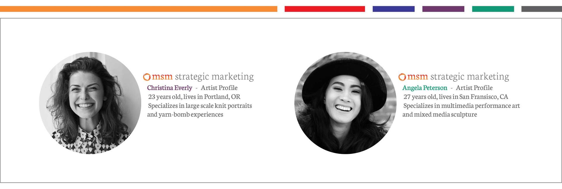 artist profiles and color scheme