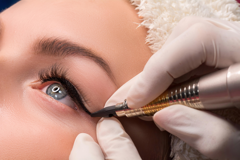 Permanent eye makeup close up shot
