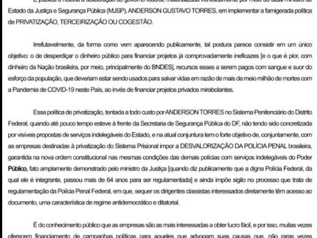 NOTA PÚBLICA CONTRA A PRIVATIZAÇÃO DO SISTEMA PENITENCIÁRIO