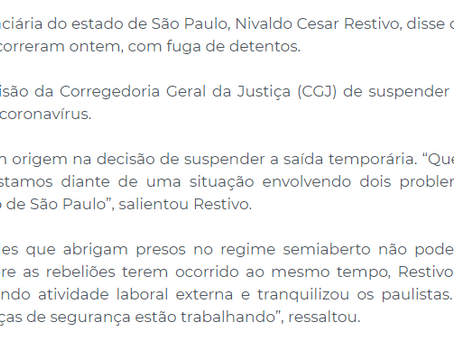 Secretário da SAP, Nivaldo César Restivo diz que situação em penitenciárias está normalizada.