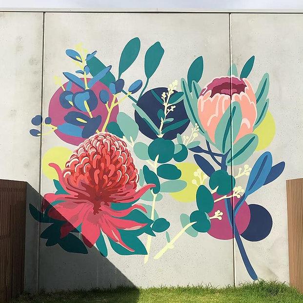 Westlakes Live West flower mural botnical mural